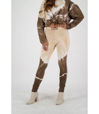 Reinders Reinders : Pants Tie Dye-Dark brown-creme
