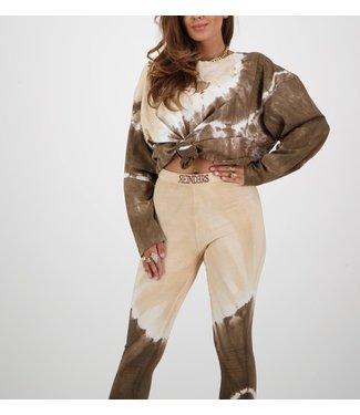 Reinders Reinders :T-shirt Tie Dye long-Dark brown-creme-W2054