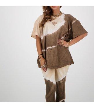 Reinders Reinders :T-shirt Tie Dye short-Dark brown-creme