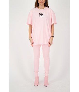 Reinders Reinders : T-shirt Headlogo square-Baby pink