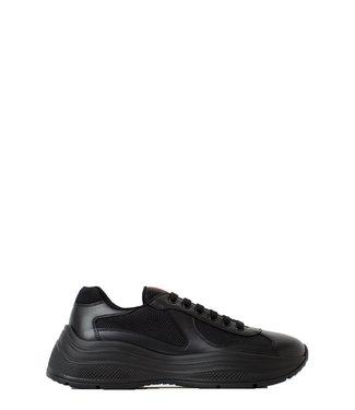Prada Prada : America's Cup Xl Leather Sneakers-Black