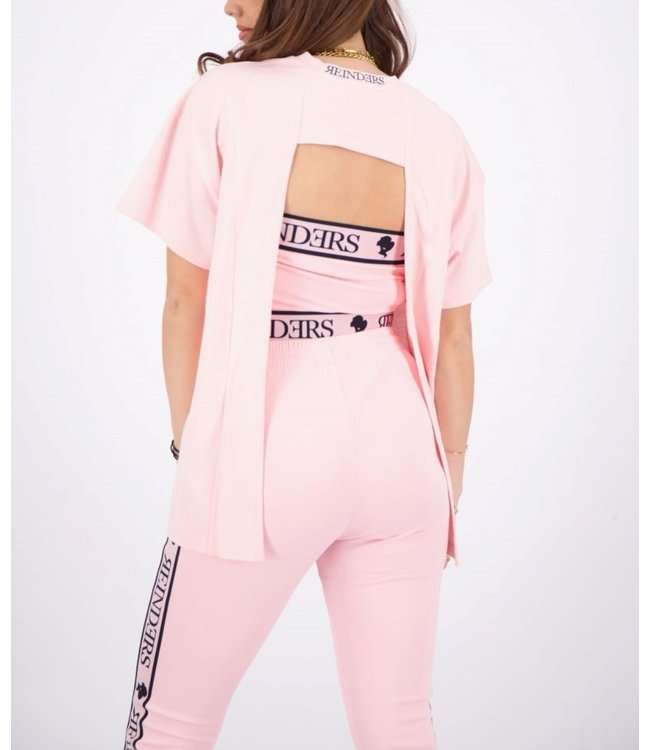 Reinders Reinders : T-shirt open back-Baby Pink