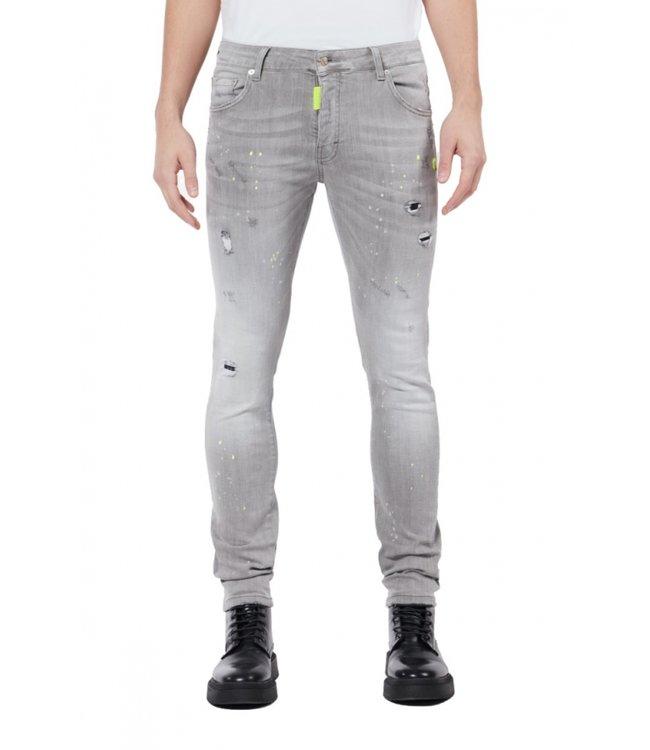 Mybrand Mybrand : Jeans Neon yellow spotted-Grey