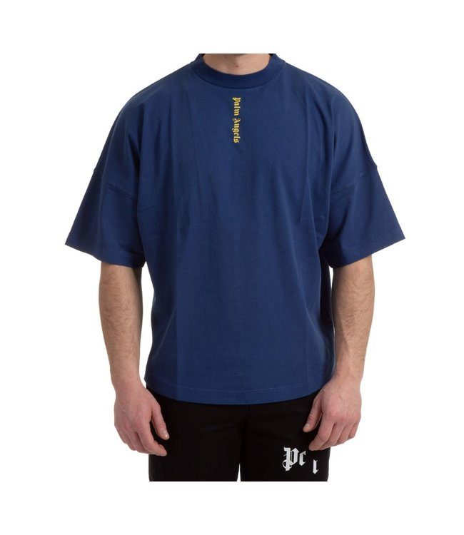 Palm Angels Palm Angels : Logo over tee-Navy yellow