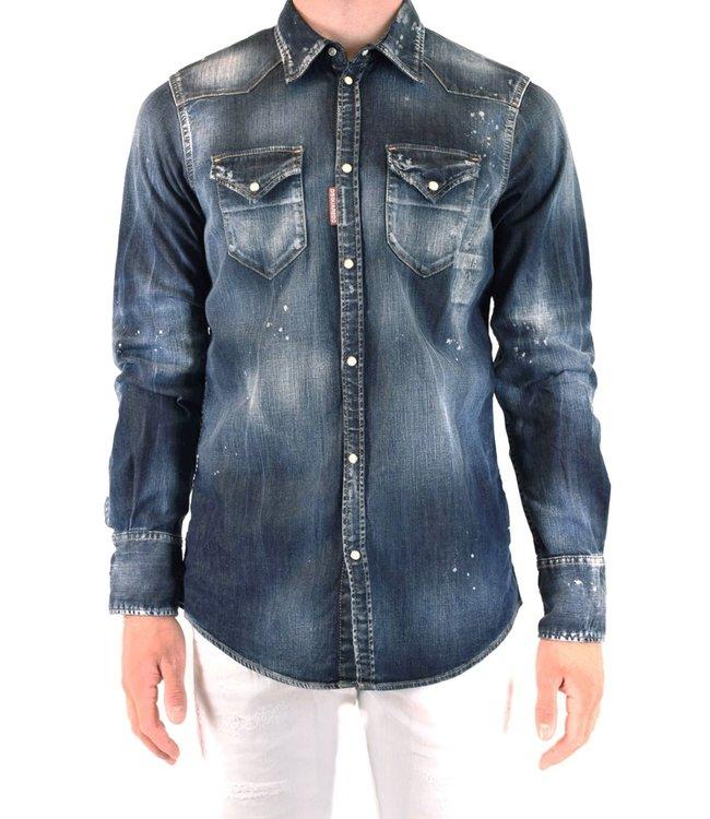 Dsquared2 Stonewashed denim Shirt-Blue