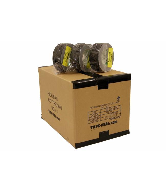 Nichiban Gaffa Tape 50mm x 25m Zwart - doos 30 rollen