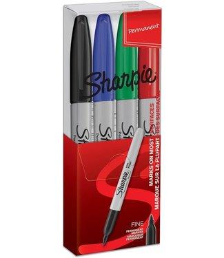 Sharpie Sharpie Fine Point Marker 1mm Etui à 4 Kleuren