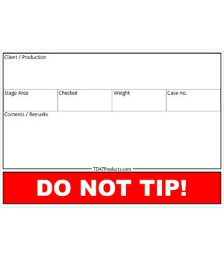 TD47 Products TD47 Flight Case Tour-Label-212x 150mm + DO NOT TIP!
