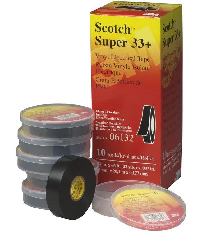3M Scotch Professionelle Isolierband 19mm x 20m Super-33+ Black (10 Stück)