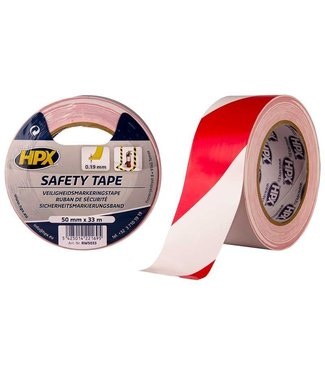 HPX HPX Safety Tape 50mm x 33m Rood/Wit