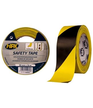 HPX HPX Safety Tape 50mm x 33m Zwart/Geel