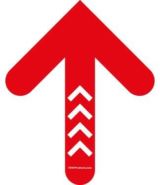 TD47 Products TD47 Soziale Distanzierung Fußboden-Aufkleber Pfeil 30cm Rot / Weiß