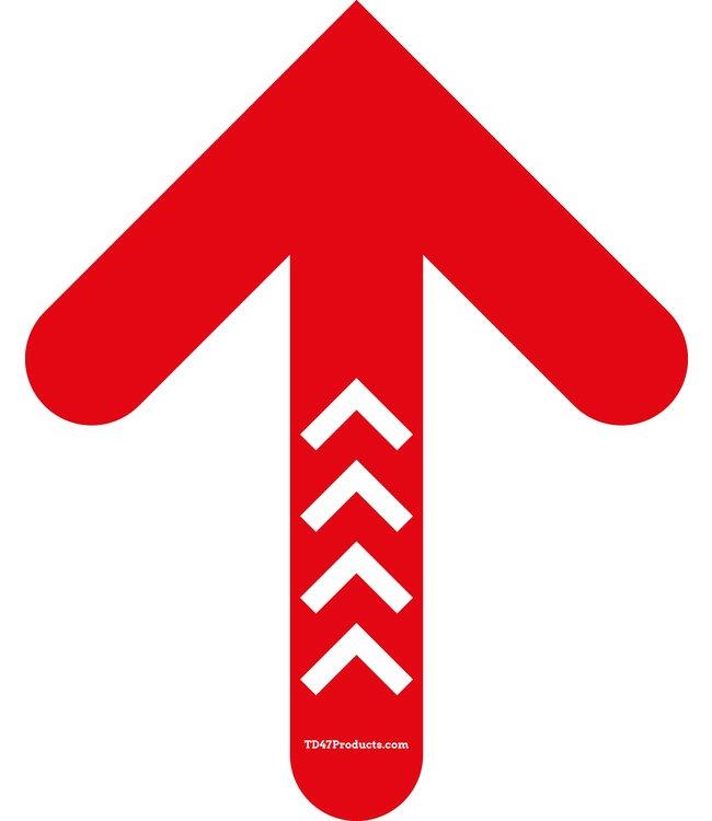 TD47 Soziale Distanzierung Fußboden-Aufkleber Pfeil 30cm Rot / Weiß