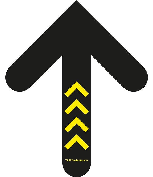 TD47 Soziale Distanzierung Fußboden-Aufkleber Pfeil 30cm Gelb / Schwarz