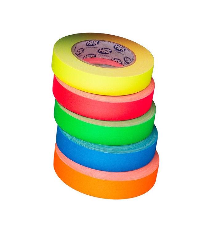 HPX Gaffer Tape Pro 25mm x 25m Fluor Kleurenmix