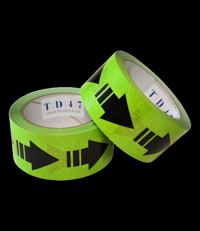 TD47 Afstandstape Groen met pijlen 50mm x 66m