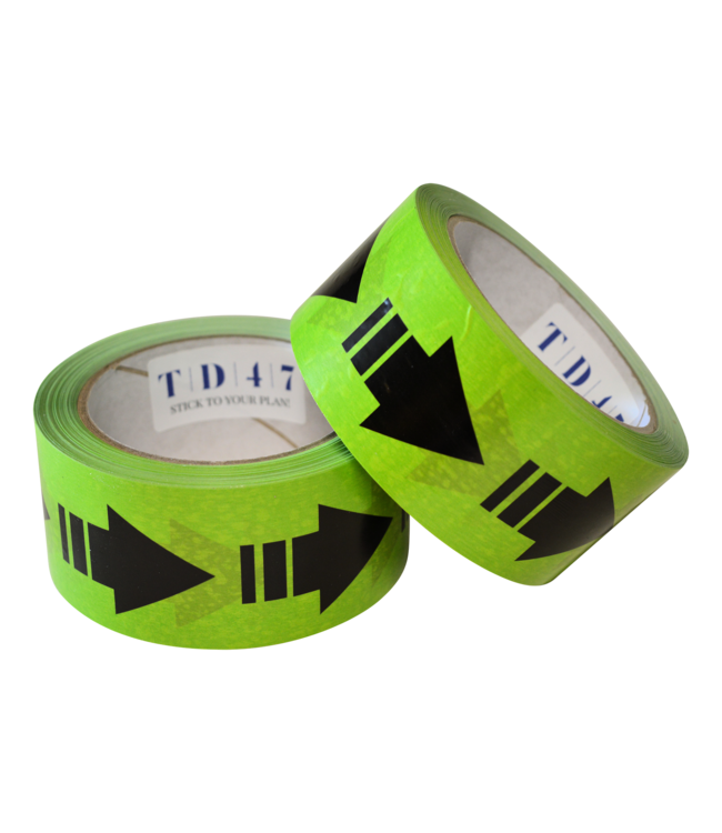 TD47 Entfernung Green Tape mit Pfeilen 50mm x 66m
