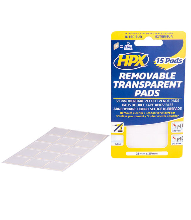 HPX Removable Transparent Pads 25mm x 25mm