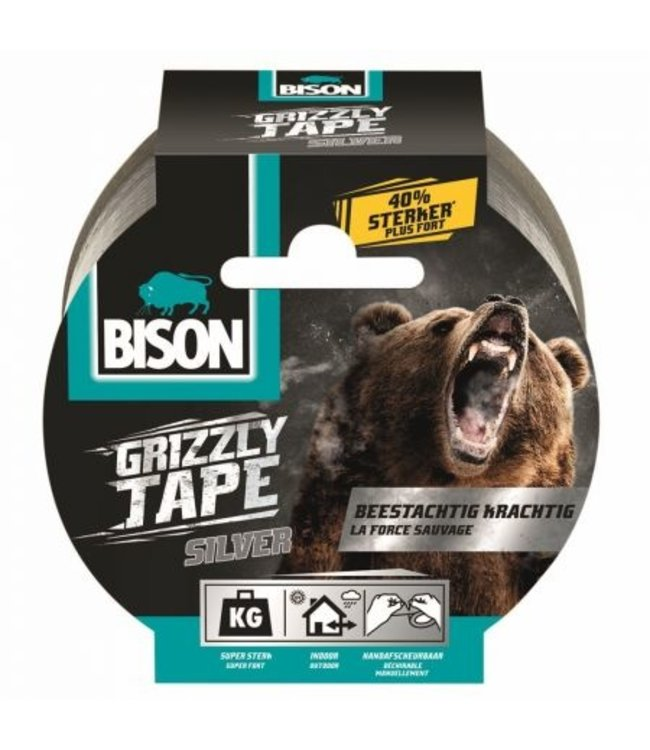 Bison Grizzly Tape 48mm x 10m Zilver