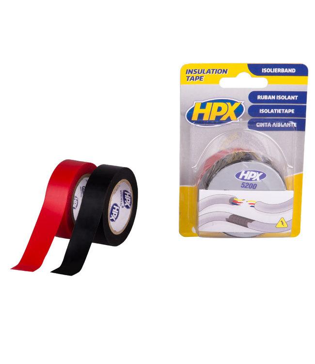 HPX Isolatietape 19mm x 10m zwart + rood