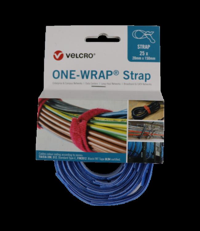 ONE Velcro®-Wrap® Klettkabelbinder 20 mm x 150 mm Blau