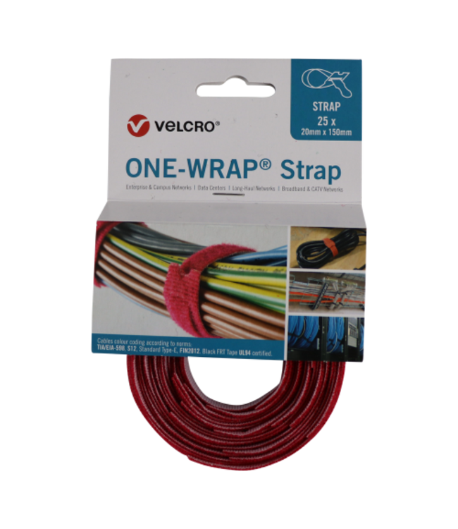 ONE Velcro®-Wrap® Klettkabelbinder 20 mm x 150 mm Rot