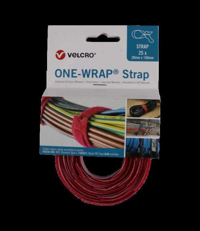 Velcro® ONE-WRAP® klittenband kabelbinder 20mm x 150mm Rood