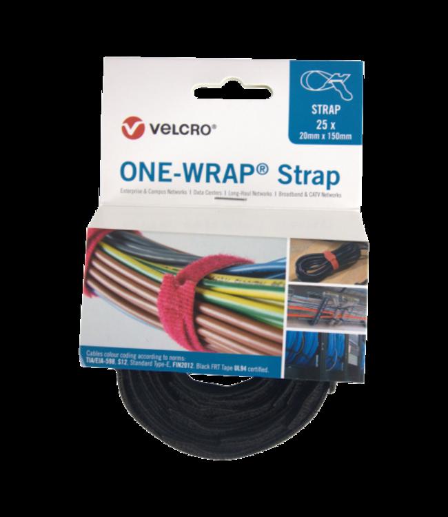 Velcro® ONE-WRAP® klittenband kabelbinder 20mm x 200mm Zwart