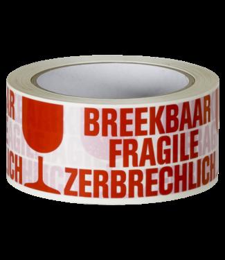 TD47 Products TD47 Verpakkingstape Breekbaar / Fragile / Zerbrechlich 50mm x 66m Wit