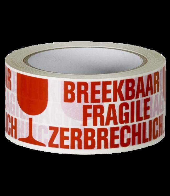 TD47 Verpakkingstape Breekbaar / Fragile / Zerbrechlich 50mm x 66m Wit