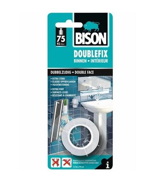 Bison Bison Doublefix dubbelzijdige tape 19mm x 1,5 meter