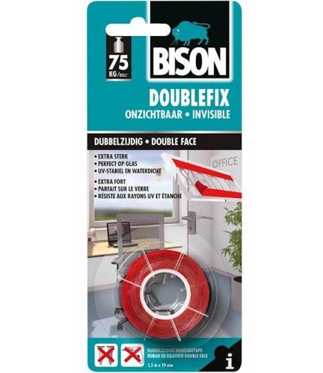 Bison Doublefix dubbelzijdige tape 19mm x 1,5m Onzichtbaar