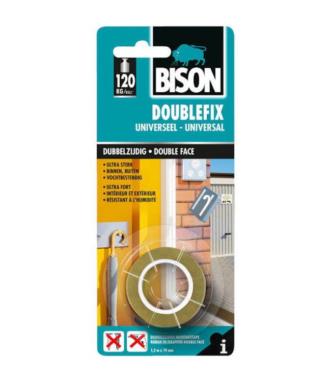 Bison Doublefix dubbelzijdige tape 19mm x 1,5m Universeel