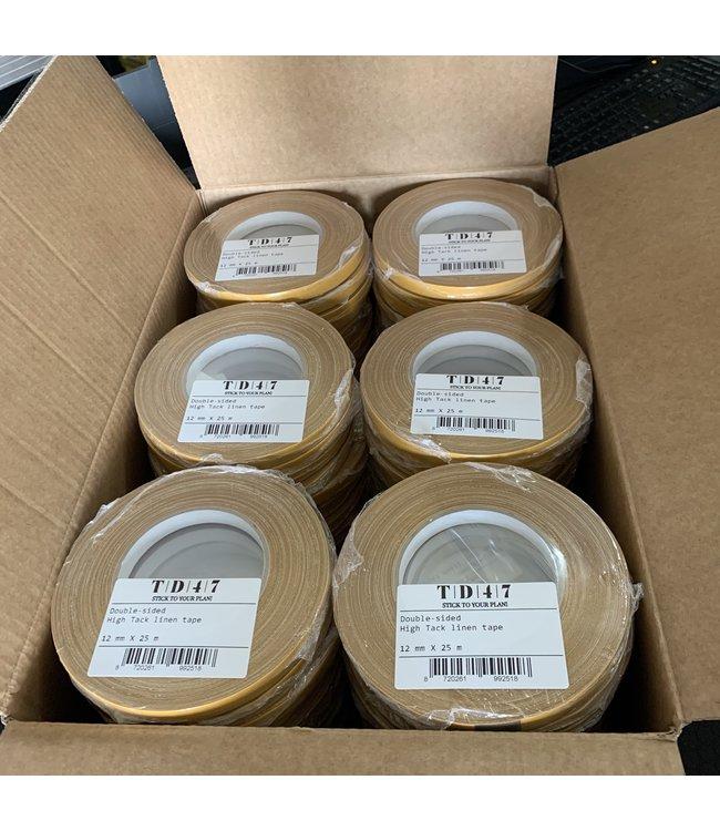 TD47 Dubbelzijdige High Tack linnen tape 12mm x 25m (96 stuks)
