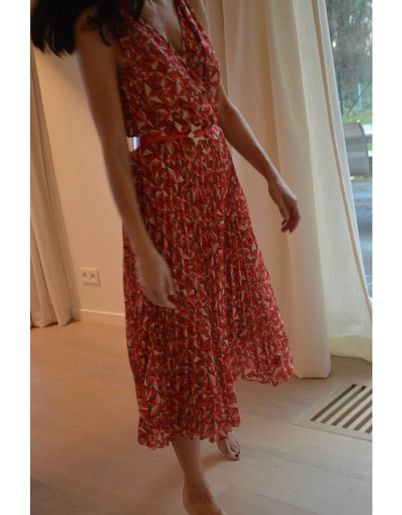 Kleed E. Franchi rood/roze sterrenprint + riem