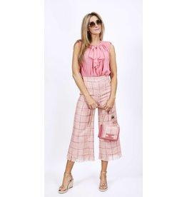 Broek E. Franchi tweed ruit roze 3/4 pijpen