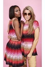 M Missoni Kleed M MIssoni zigzag rood/roze/goud open rug
