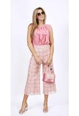 Schoudertas E. Franchi tweed ruit roze