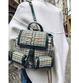 Handtas/Rugzak E. Franchi tweed groen