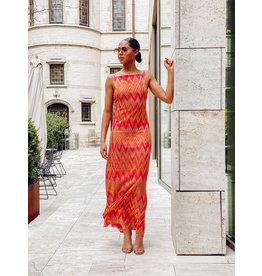 M Missoni Lang kleed M Missoni zigzag roze/geel
