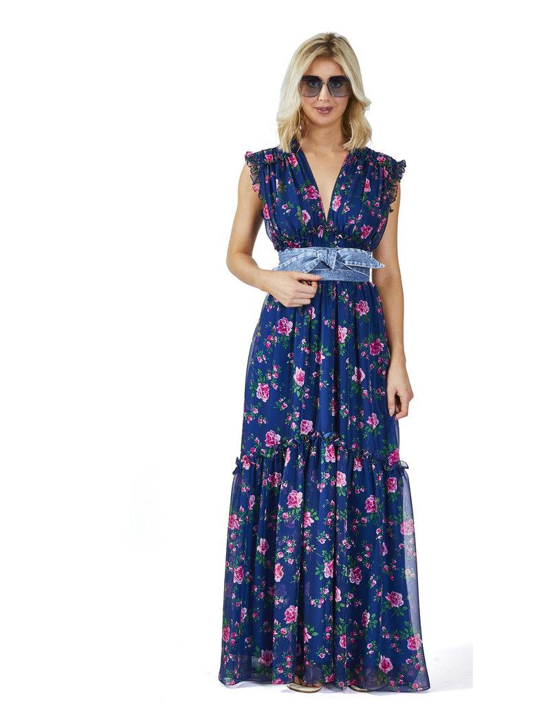 Philosophy Lang kleed Philosophy jeansblauw bloem