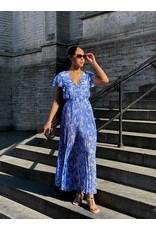 Lang kleed Patrizia Pepe blauw/wit print