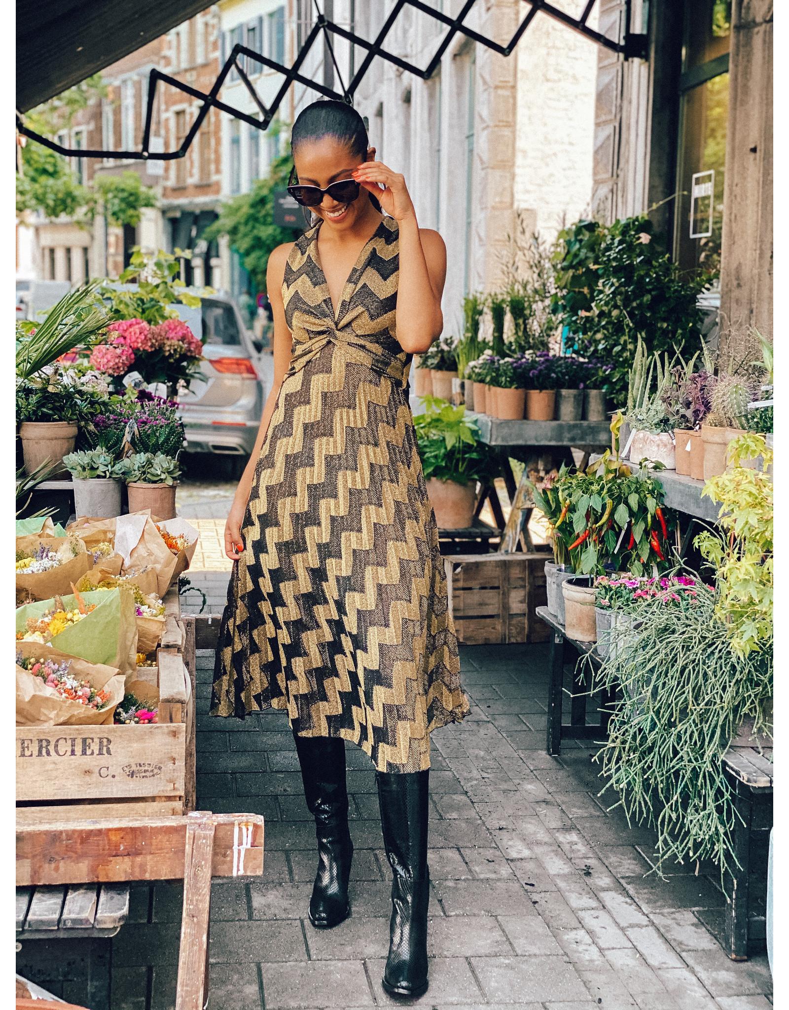 Lang kleed M Missoni goud/zwart