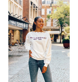 Philosophy Sweater Philosophy wit + libertyknoopjes