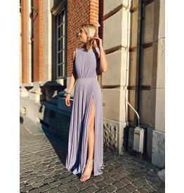 Lang kleed E. Franchi lila + ketting rug