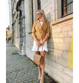 Kort rokje E. Franchi wit + gouden knopen