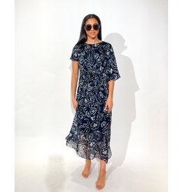 Natan Lang kleed Natan donkerblauw print