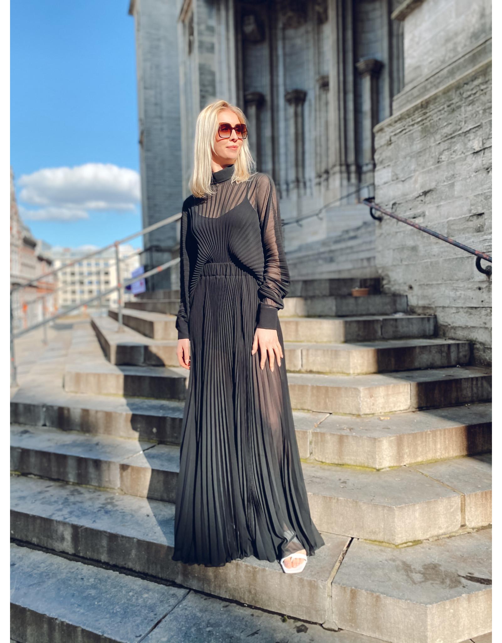 Lang kleed P. Pepe plissé zwart