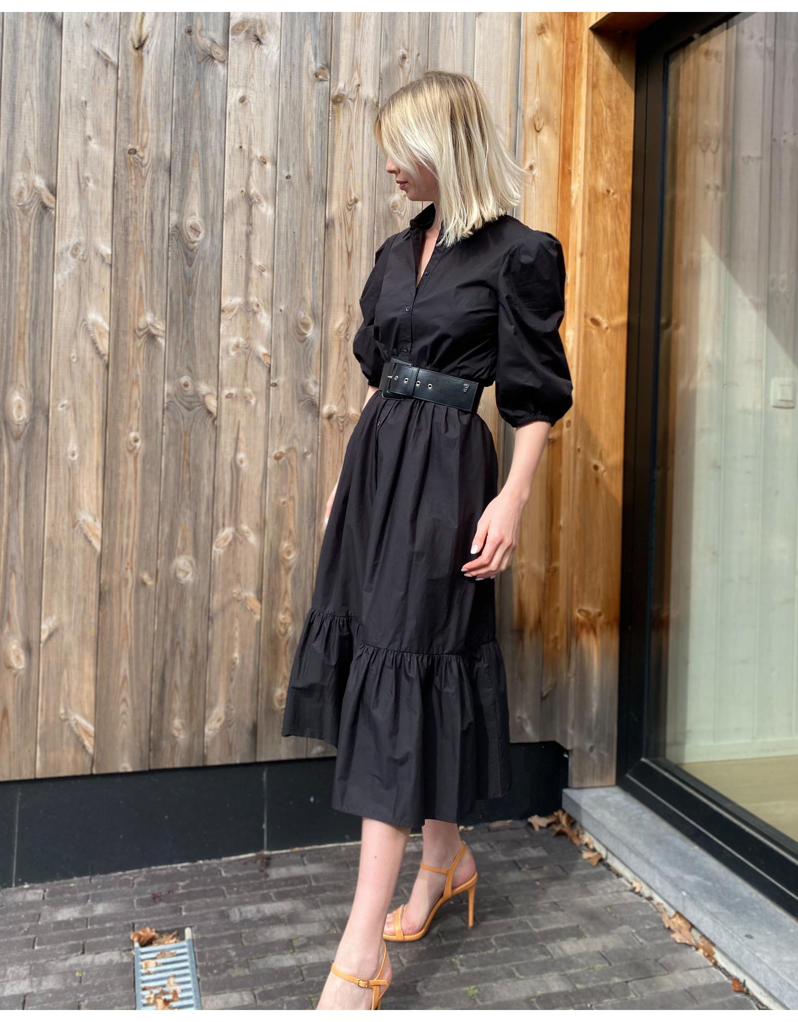 Lang kleed P Pepe zwart popeline
