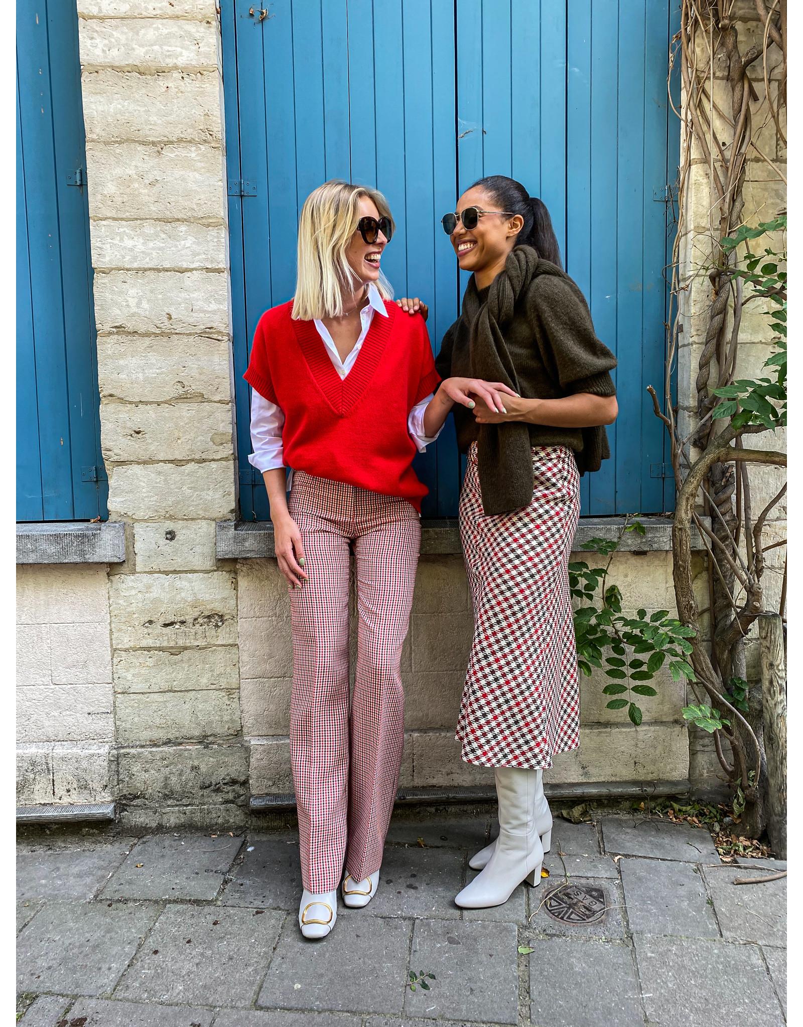 Natan Lange rok Natan rood/écru + breder riem